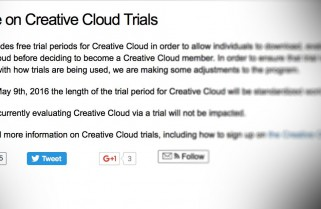 Adobe drastically reduces the trial period of the Creative Cloud suite