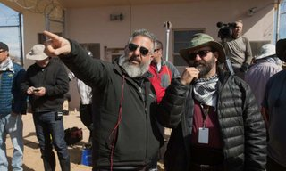 Left to right: Left to right: Director Glenn Ficarra and Cinematographer Xavier Grobet on the set of Whiskey Tango Foxtrot